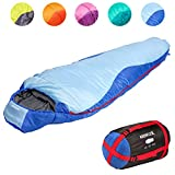 KeenFlex Mumienschlafsack 350 - 3 Jahreszeiten -5℃ + 15℃ - Hochentwickeltes Wärmeregulierungssystem - Ideal für Camping, Backpacking oder Wandern - (Blau)
