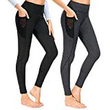Munvot Laufhose Damen mit Tasche lang Sport Leggings Sporthose Yogahose Fitnesshose Yoga Leggings für Damen - A1231 / 2er Pack (Schwarz + Dunkel Grau)/M (38-40)