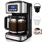Aicok Filter kaffeemaschine mit timer, 12 tassen programmierbare kaffeemaschine mit Anti-Drip-Funktion, Automatische Warmhaltefunktion, LED-Anzeige, Permanent Filter, Schwarz.