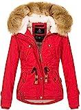 Navahoo warme Damen Designer Winter Jacke Winterjacke mit Kapuze und Teddyfell B643 [B643-Pearl-Rot-Gr.S]