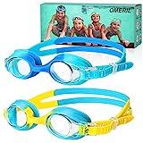 Schwimmbrille Kinder [2 Stücke] OMERIL Schwimmbrille für Kinder, Antibeschlag Lecksicher Wasserdicht Weiches Silikon Kinder Schwimmbrille Größenverstellbar Premium Swimming Goggles mit Tragbare Tasche