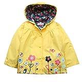Trudge Mädchen Regenjacke Trenchcoat Outdoorjacke für Kinder Winddicht Regenfest Mit Kapuze Doppelschicht Blumenmuster 90-140CM (110(Alter:3-4), Gelb)