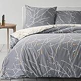 Bedsure Baumwolle Bettwäsche 135x200 cm Grau/Beige mit Zweige Muster, Bettwäsche Set 2/3/4 Teilig mit Bettbezug und Kissenbezug