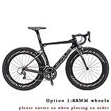 Carbon Rennrad,SAVADECK Phantom3.0 700C Rennrad Kohlefaser Rennräder Fahrrad Shimano Ultegra 8000 22 Speed Group Set mit Michelin 700C*25C Reifen und Fizik Sattel (56cm, Grau)