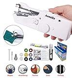 Aoweika Handheld Nähmaschine Tragbar Mini Schnurlose Elektrische Handnähmaschine, Schneller Handlicher Stich für Stoff, Kleidung, Kindertuch(Heim/Reisenutzung)