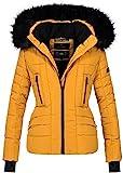 Navahoo Damen Winter Jacke warm gefüttert Teddyfell Stepp Winterjacke B361 (M, Gelb)
