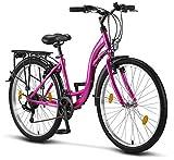 Licorne Bike Stella (Rosa) 26 Zoll Damenfahrrad, ab 145 cm, Fahrrad-Licht, Shimano 21 Gang-Schaltung, Damen-Citybike, Mädchen-Citybike, Mädchenfahrrad