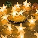 Uping DE-SLDS30ww LED Lichterkette Sterne 30er Batterienbetriebene für Party, Garten, Weihnachten, Halloween, Hochzeit, Beleuchtung Deko usw. 4,5M warm weiß, Kunststoff, White