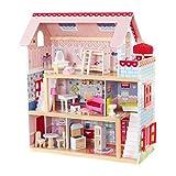 KidKraft 65054 Chelsea Doll Cottage Puppenhaus aus Holz mit Zubehör für 12 cm große Puppen mit 16 Accessoires und 3 Spielebenen