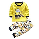 Kinderbekleidung,Honestyi Kinder Langarm Cartoon Bagger Zweiteilige Anzug Tops+ Hosen 2pcs Set Streetwear Niedlich Sweatshirts Pullover Mäntel (Gelb, 3T/100CM)