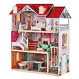 TOP BRIGHT Puppenhaus Holz groß,Holz Puppenhaus mit Möbel und Zubehör,Puppenhaus Spielzeug für Mädchen
