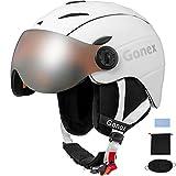 Gonex Skihelm mit Visier konvertierbarer & Abnehmbarer Skibrille Winddicht Schneemobil MS-95 Winter Snowboard Helm für Herren Damen Jung, M/L