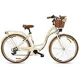 Goetze Mood Damenfahrrad Retro Vintage Holland Citybike, 28 Zoll Alu Räder, 7 Gang Shimano Tourney Schaltung, Tiefeinstieger, Korb mit Polsterung Gratis!