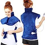 Wchiuoe Heizkissen für Rücken Schulter Nacken, Schnelle Erwärmung Wärmekissen Elektrisch mit 6 Temperaturstufen und 3 Timing-Einstellung, Waschbar Heizdecke mit Abschaltautomatik - Flanell Blau