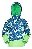 Mountain Warehouse Blade Bedruckte Kinder-Skijacke - wasserdicht, abmachbare fleecegefütterte Kapuze, integrierter Schneefang - zum Snowboarden, Winter Kobalt 2-3 Jahre