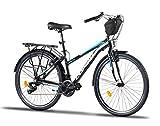 Corelli Tess Citybike 26 Zoll mit Aluminium-Rahmen, V-Brake, Shimano 21 Gang-Schaltung, als Damen-Fahrrad, Mädchen-Fahrrad, Kinder-Fahrrad, in Schwarz/Blau