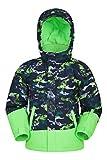 Mountain Warehouse Mogal Bedruckte, wasserdichte Kinder-Skijacke - Reißverschlusstaschen, abnehmbare Kapuze, mit Fleece, integrierter Schneefang -für Snowboarden, Winter Grün 7-8 Jahre