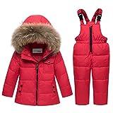 Kinder Bekleidungsset Junge Mädchen Süß Schneeanzug mit Kaputze Daunenjacke + Skihose 2tlg Verdickte Skianzug Winterjacke, Rot 4-5 Jahre