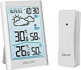 TEKFUN Wetterstation Funk mit Außensensor, Digital Thermometer Hygrometer Innen und Außen Raumthermometer Feuchtigkeit mit Wettervorhersage, Uhrzeitanzeige, Wecker und Nachtlicht