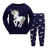 Tkiames Mädchen Schlafanzug Giraffe Baumwolle Kinder Langarm Pyjama,Navy1,4-5 Jahre