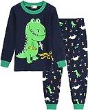 MOLYHUA Schlafanzug Jungen Lang Pyjama Dinosaurier Zweiteiliger Schlafanzüge Kinder Baumwolle Nachtwäsche für Baby-Jungen 92 98 104 110 116 122