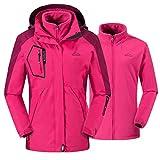 donhobo Damen Ski 3-in-1-Jacke 2 Stück Outdoor Wasserdicht Winddicht Winterjacke Doppeljacke Regenjacke Fleecejacke Wanderjacke Rosa M