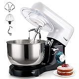 Küchenmaschine, Elegant Life 1500W Auto-Knetmaschine Rührgeräte mit 5.5L Edelstahl Rührschüssel, 6 Geschwindigkeit Teigmaschine, Schneebesen, Knethaken, Flachrührer, Spritzschutz und Eiertrenner