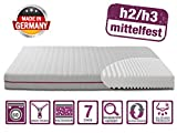 BMM Matratze Klassik 19 - orthopädische 7-Zonen Kaltschaummatratze 100x200 cm, H2 / H3 mittel-fest, Bezug V2 Premium Doppeltuch, Höhe 19cm