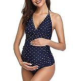 Summer Mae Schwangerschaft Bademode Tankini Neckholder Umstands Badeanzug Drucken V-Neck Blau Tupfen XL