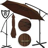 Kesser® Alu Ampelschirm Ø 350 cm mit Kurbelvorrichtung UV-Schutz Aluminium Wasserabweisende Bespannung - Sonnenschirm Schirm Gartenschirm Marktschirm Braun