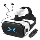 YEMENREN 3D VR Brille, VR Headset mit Bluetooth Controller und Kopfhörer, 120° FOV, HD Virtual Reality, Anti Blu-ray-Linse - für 3D Film und Spiele, Geeignet 4,0-6,0 Zoll Smartphone Handy (Weiß)