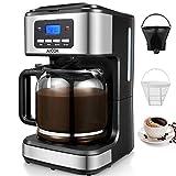 Aicok Kaffeemaschine mit Timer Programmierbarer Filterkaffeemaschine mit Dauerfilter , Warmhalteplatte, Abschaltautomatik, Anti-Drip, 1,8L Glaskanne, LED-Anzeige, Schwarz