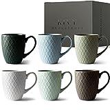 KIVY® Kaffeetassen 6er Set [400 ml] - Hochwertige Kaffeetasse mit großem Henkel - Keramik Tasse groß - Kaffeebecher Set Matt - Tassen Set für Kaffee & Tee - Teetassen Set Modern - Tassen groß