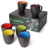 MiaMio - 6 x 350 ml Kaffeetassen/Kaffeebecher Set Außen Schwarz Innen Farbig (Bunt)