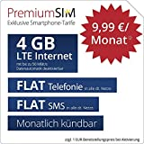 PremiumSIM LTE M Allnet Flat - monatlich kndbar (FLAT Internet 4 GB LTE mit max. 50 MBit/s mit deaktiverbarer Datenautomatik, FLAT Telefonie, FLAT SMS und EU-Ausland, 9,99 Euro/Monat)