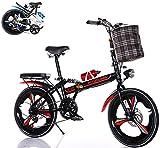 Klapprad in 20 Zoll Erwachsene Jugendliche für Faltrad Schnellfaltsystem 6 Bremsen mit Variabler Geschwindigkeit Stadtrad mit Rücklicht und Autokorb(rot)
