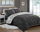 Bedrucktes Bettbezug-Set, 3-teilig, 100 % Baumwollperkal, Fadenzahl 200, wendbar, weiß | schwarz | anthrazit | Bettwäsche-Sets Doppelking-Size Super King Size (Anthrazit & Schwarz, Super King)