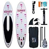 Suprfit SUP Board I Stand up Paddle Board I Komplettset: Paddelboard, Transporttasche, Paddel, Luftpumpe, Sicherungsleine, Reparaturset I Modell Neyla: 300 x 75 x 10 cm | max. 90 kg
