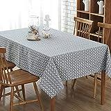 GWELL Leinen Tischdecke Eckig Abwaschbar Tischtuch Pflegeleicht Schmutzabweisend 10 Größe wählbar graue Streifen 120 * 160cm