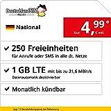 DeutschlandSIM LTE 750 National - monatlich kndbar (1 GB LTE mit max. 21,6 MBit/s inkl. deaktivierbarer Datenautomatik, 250 Freieinheiten fr Anrufe oder SMS, 4,99 Euro/Monat)