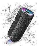 Ortizan Bluetooth Lautsprecher mit LED Licht, Tragbarer Bluetooth Box mit IPX7 Wasserschutz, Dualen Bass-Treibern, 30h Akku, Freisprechfunktion, Bluetooth Kabelloser Lautsprecher für Phone, Outdoor