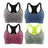 Srizgo Sport BH Damen Yoga BH 4er Pack (L, Farben-04)
