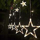 SALCAR Lichterkette mit LED Kugel 12 Sterne 138 Leuchtioden Lichtervorhang 8 Modi Innen & Außenlichterkette Wasserdicht Dekoration für Weihnachten