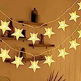 HOMVAN LED-Lichterkette mit Batterie, Stern-Lichterkette 7,5 m 50 LEDs zur Beleuchtung innen und außen für Weihnachten, Halloween, als Hochzeitsdeko, Zimmerdeko oder Gartenparty-Dekoration (Warmweiß)