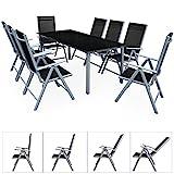 Deuba Sitzgruppe Bern 8+1 Aluminium 7-Fach verstellbare Hochlehner Sthle Tisch mit Sicherheitsglas Silber Garten Set