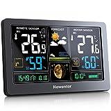 Newentor Wetterstation mit Auensensor Funk Digitales Farbdisplay DCF-Funkuhr Multifunktionale Funkwetterstation Thermometer Hygrometer