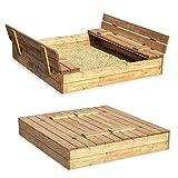 Sandkasten Sandbox Sandkiste mit Klappdeckel Sitzbänken 120x120 Kiefernholz mit Bodenplane