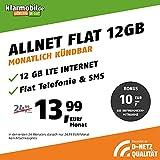 klarmobil Handyvertrag D-Netz Allnet Flat 12 GB - Internet Flat, Allnet Flat Telefonie & SMS in alle Deutschen Netze, EU-Roaming, monatlich kündbar