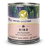 Hundeland Natural | Rind + Pastinake | 6 x 800 g | getreidefreies Hundefutter | Nassfutter für alle Hunderassen | viel frisches Fleisch | artgerecht & besonders gut verträglich