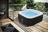 Arebos Whirlpool | aufblasbar | In- & Outdoor | 4 Personen | 130 Massagedüsen | mit Heizung | 550 Liter | Inkl. Abdeckung | Bubble Spa & Wellness Massage